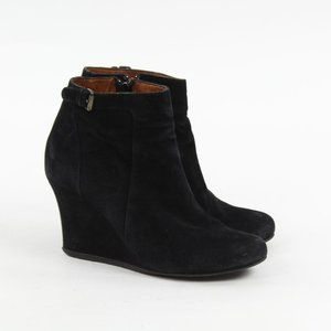 Lanvin Paris Black Suede Zip Bootie Wedge Buckle
